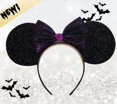 Halloween Minnie Mouse Ears With Spider Web Black and Purple Bow