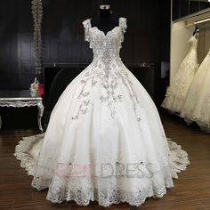 Ericdress Luxury V Neck Beaded Cathedral Train Wedding Dress 6
