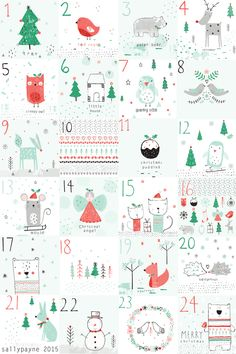 The advent illustrations day by day and together and a christmas pattern! Have a great Christmas!!
