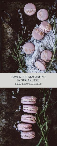 Lavender macarons by sugar fixé - macaron recipe Lavender Macarons, Vanilla Macarons, Lavender Syrup, Macaron Flavors, Macaron Cookies, French Macaroons, Macaroon Recipes, Perfect Cookie, Baking Cupcakes