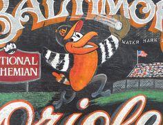 Baltimore Orioles art/ wall hanging/ sports decor
