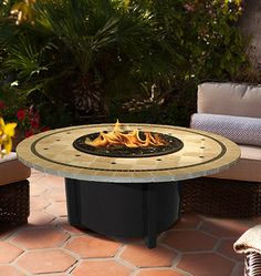 Carmel Chat Height Fire Pit-Black-Black Reflective Glass-Laguna Mosaic