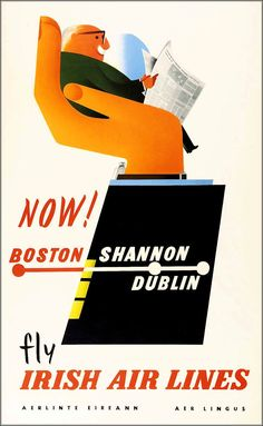 Aer  Lingus 1958 Boston to Shannon & Dublin Airline Advertisement Vintage Poster Art Print Free US Post Low European Post Fast Shipping by VintagePosterPrints on Etsy https://www.etsy.com/listing/260168934/aer-lingus-1958-boston-to-shannon-dublin