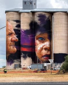 Paintings by Adnate. Urban Street Art, 3d Street Art, Street Art Graffiti, Street Artists, Banksy, Les Stickers, Pavement Art, Melbourne Art, Urban Painting