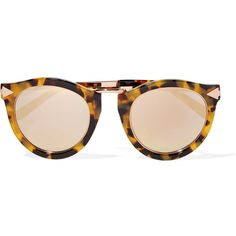 Karen Walker Harvest Superstars round-frame acetate and rose gold-tone... (2300 MAD) ❤ liked on Polyvore featuring accessories, eyewear, sunglasses, glasses, round sunglasses, round mirrored sunglasses, oversized sunglasses, round frame sunglasses and oversized round sunglasses