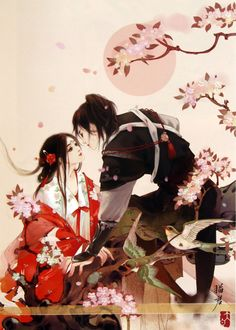 Tranh của Miêu Quân Tiếu Trư Chinese Artwork, Chinese Drawings, Anime Fantasy, Fantasy Art, Romantic Anime Couples, Fantasy Couples, Nature Illustration, China Art, Historical Art