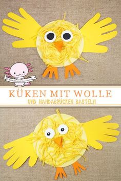 Küken basteln, malen oder stempeln – Bastelnmitkids These chicks get their very own touch by drawing their hands and using them as wings. Crafts with children and toddlers for Easter. Easter in kindergarten. Easter Crafts For Kids, Toddler Crafts, Preschool Crafts, Diy For Kids, Easy Crafts, Diy And Crafts, Arts And Crafts, Paper Crafts, Canvas Crafts