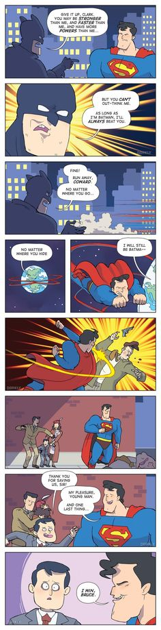 BATMAN V SUPERMAN Comic by Andy Kluth. The final (funny) solution to their clash