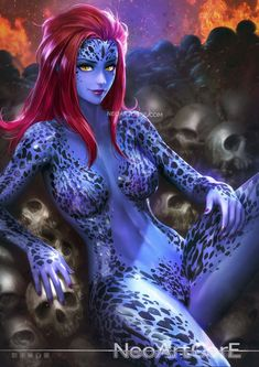 artist name blue skin breasts breasts apart fire flame forehead leaning back leg up lips long hair looking at viewer marvel medium breasts mystique nail polish navel nudtawut thongmai pink nails red hair shiny shiny hair shiny skin sitting skull smil Comic Book Characters, Comic Character, Comic Books Art, Female Characters, Comic Art, Marvel Comics, Marvel Art, Thor Marvel, Captain Marvel