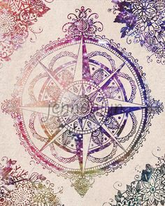 compass rose wall decor bohemian art travel gifts by Jenndalyn