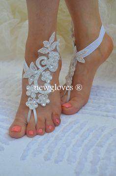 bridal anklet, ivory Beach wedding barefoot sandals, free ship, bangle, wedding anklet, anklet, bridal, wedding, $25.00