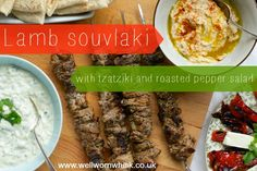 This easy lamb souvlaki recipe can be adapted for chicken or pork. I served it with roasted red pepper and feta salad and pitta bread - oh, and houmous too.