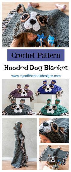 Crochet Hooded Dog Blanket