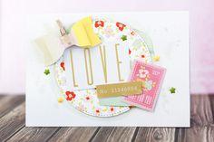 Vier Karten mit dem Juni Project Life Kit der Scrapbook Werkstatt || Design Team Arbeit von Julia Klein  #cardmaking #scrapbooking #diecutting #cratepaper #mftstamps