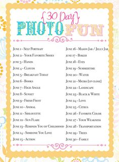 June Photo Challenge.... I think I'll do this.
