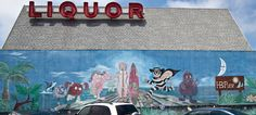 McDonald's mural on the side of a liquor store in Huntington Beach, California for the Pier, featuring McDonaldland characters Mac Tonight, Ronald McDonald, Birdie the Early Bird, Hamburglar, Grimace, and two Fry Kids! Posted by flickr user Chasing Paint.
