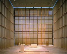 Metal mesh and wood screens. Church of the Sacred Heart, Munich. Allmann and Sattler and Wappner.