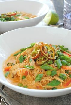 Coconut Curry Chicken Soup - perhaps with different veggies, no noodles, served over rice. Or perhaps I should just go to Thai Paradise instead...