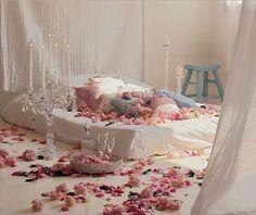 romantic bedroom decor with flower decoration