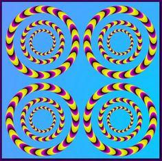 Mueve tus ojos por diferentes puntos de la imagen y verás que los círculos giran.