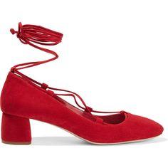 Miu Miu Suede pumps (865 AUD) ❤ liked on Polyvore featuring shoes, pumps, miu miu, heels, red, mid-heel pumps, red pumps, block heel shoes, red mid heel pumps and ankle strap pumps