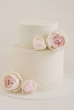 hello naomi: cream peony wedding cake