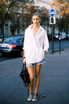 Le Fashion Blog Casual Weekend Style White Button Down Shirt Cut Off Denim Shorts Black Bag Converse Sneakers Via Vanessa Jackman