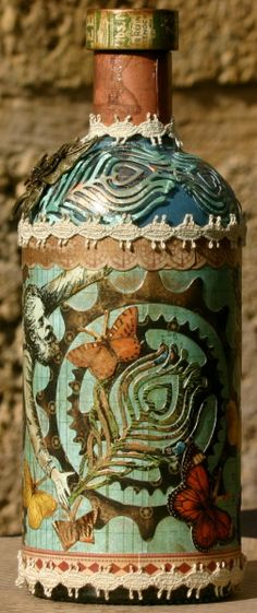 Steampunk Upcycled Bottle by Rebecca Morris shared on our Ning! #graphic45 #upcycling