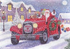 original ACEO Santa Claus Christmas Presents Retro Car Holyday Lights Milena  #ACEO