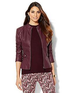 NY&C: Quilted Faux-Leather Moto Jacket