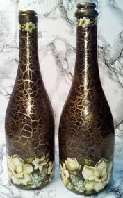Resultado de imagem para garrafas decoradas craqueladas