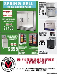Clearance sale on Three Section True Reach-In Refrigerator was $2800 now only $1400. For the best in new and used restaurant equipment give us a call 404-521-2332 or come by to Mr.V's Restaurant Equipment 510 Jones Ave. NW Atlanta,GA 30314.For More Info click link http://tinyurl.com/mgjvdzo