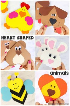 Heart Animals Crafts - Valentines Heart Shaped Animals - Easy Peasy and Fun - Papieren harten Arts And Crafts For Adults, Easy Arts And Crafts, Easy Crafts For Kids, Toddler Crafts, Preschool Crafts, Fun Crafts, Valentines Art For Kids, Valentine Crafts For Kids, Valentine Heart