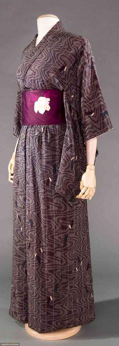 Purple moire furisode kimono w/ red & grey print & plum silk damask obi w/ embroidered & woven blossoms, excellent