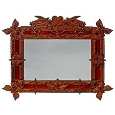 Masterful Tramp Art Mirror with Butterflies and Birds | From a unique collection of antique and modern mirrors at http://www.1stdibs.com/furniture/folk-art/mirrors/