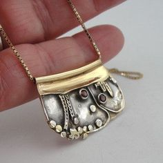 Hadar Handmade Unique Art Silver Gold Garnet by hadarjewelry...has some Klimt references