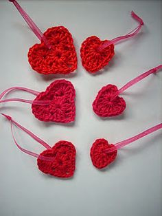cute crochet hearts- make into bookmarks on thicker ribbon?