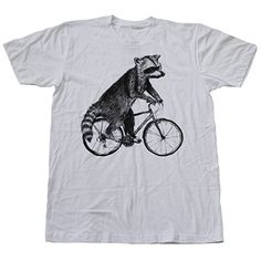 Dark Cycle Clothing Men's Racoon On A Bicycle T Shirt White Xl * Check out the image by visiting the link.