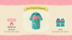"""A fishy kimono design I made on my free time ♡ Animal Crossing Hair, Animal Crossing Qr Codes Clothes, Animal Crossing Pocket Camp, Kleidung Design, Face Anatomy, Green Kimono, Water Tribe, Kimono Design, Motifs Animal"