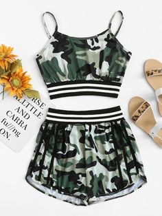 To find out about the Camo Print Striped Panel Cami Top With Shorts at SHEIN, part of our latest Two-piece Outfits ready to shop online today! Pajama Outfits, Camo Outfits, Crop Top Outfits, Legging Outfits, Sporty Outfits, Stylish Outfits, Shorts Outfits For Teens, Teen Shorts, Summer Outfits