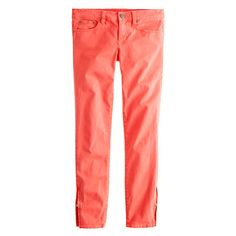 ankle-zip toothpick jean in neon rose
