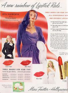 love the old makeup ads Rita Hayworth Vintage Makeup Ads, Retro Makeup, Old Makeup, Vintage Ads, Vintage Advertisements, Retro Ads, Vintage Style, Vintage Fashion, Vintage Makeup