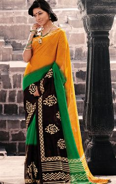 Picture of Alluring Multi Color Saree with Lace Border