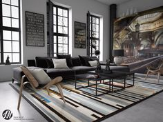 The final space in this living room roundup is definitely artist inspired with its warm industrial loft style.