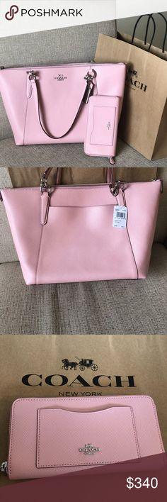"🆕 Matching Coach Set 🎀 100% Authentic Guaranteed   This Listing Includes:  ✨Coach Crossgrain Leather Ava Tote and Matching Coach According Zip Wallet✨  Colors: BLUSH w/ Silver Hardware   Specs: Crossgrain leather Zip top closure, fabric lining Inside zip, cell phone and multifunction pockets Double leather handles with approx. 9"" drop Approximate measurement 16 3/4"" (L) x 9 3/4"" (H) x 5"" (W) Coach Bags Totes"