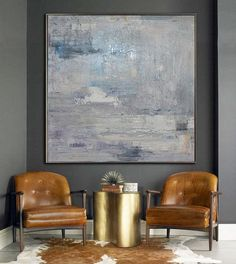 brass table Large Abstract Art Handmade Oil Painting On by CelineZiangArt