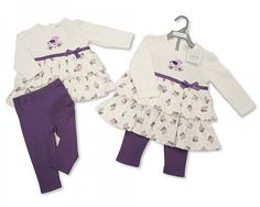 Baby Mädchen Set Nursery Time Tunika und Legings weiss Lila verschiedene Größen