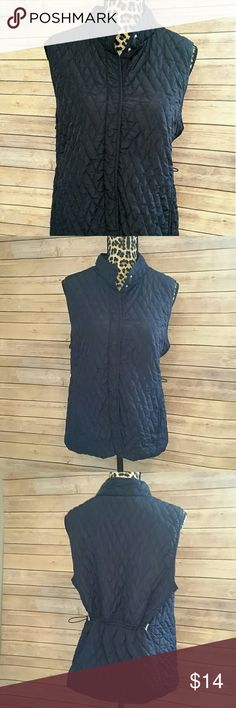 Navy Quilted Vest Made by Croft & Barrow Dark navy blue with snap down closure.  Can be worn cinched or un-cinched in back. A really versatile wardrobe piece! 100% Polyester croft & barrow Jackets & Coats Vests