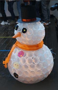 снеговик пластиковых стаканчиков.