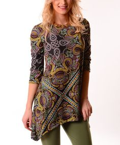 Love this Pink & Green Abstract Sidetail Tunic - Plus on #zulily! #zulilyfinds